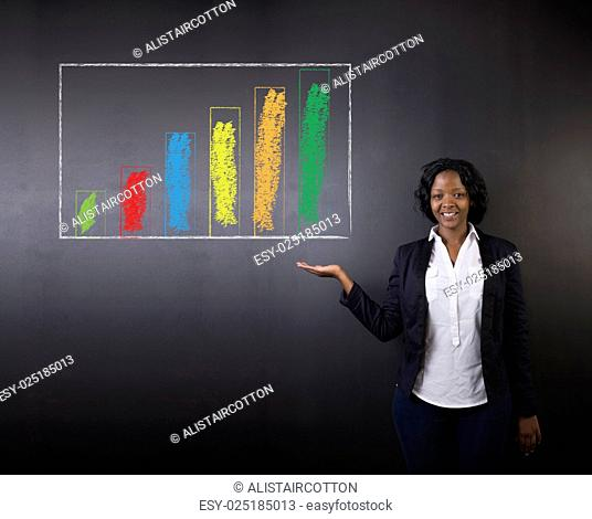 South African or African American woman teacher or student thumbs up against blackboard chalk  bar graph