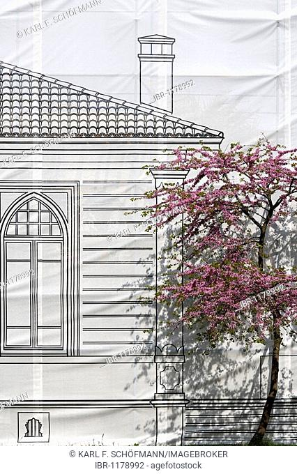 Canvas with drawing of a historic, Ottoman building is covering a scaffolding, renovation, Topkapi Palace, Sarayburnu, Istanbul, Turkey