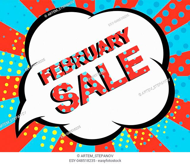 Sale poster with FEBRUARY SALE text. Advertising blue and red vector banner template. Pop art style