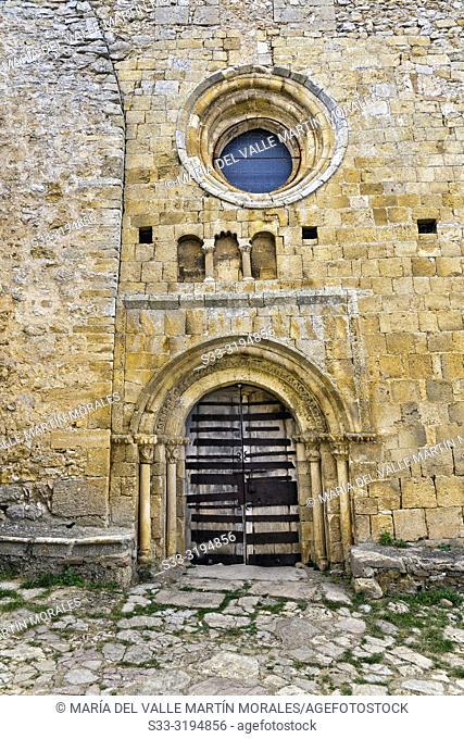 Old door in Our Lady of the Castle's Church in Calataniazor. Soria. Castilla León. Spain. Europe