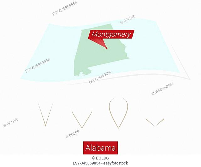 Curved paper map of Alabama state with capital Montgomery on Gray Background. Four different Map pin set. Vector Illustration