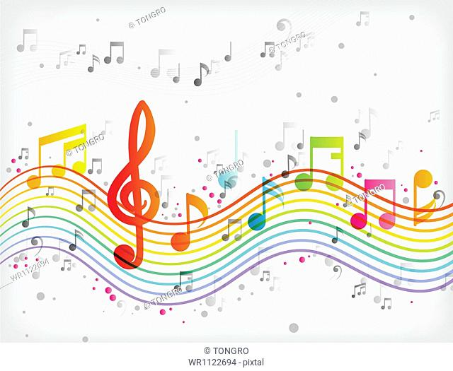 an illustration of different color music notes