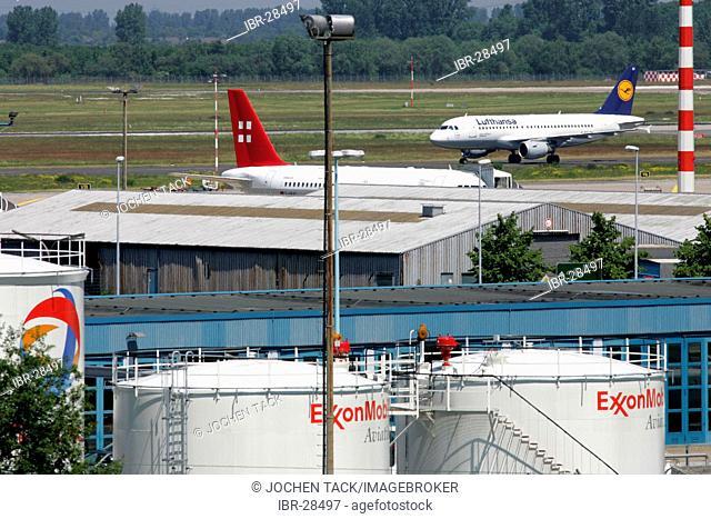 DEU, Germany, Duesseldorf: Fuel tanks at the Duesseldorf International Airport