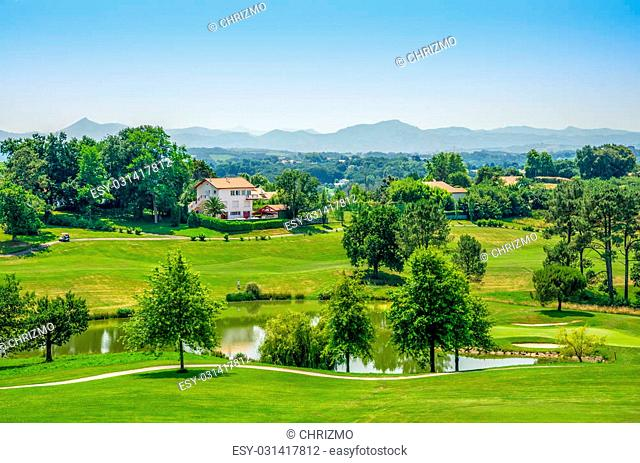 A golf course near Biarritz in South West France with the Pyrenees in the background