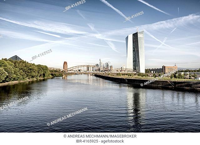 Seat of the European Central Bank, with river Main and skyline in the morning light, Frankfurt am Main, Hesse, Germany