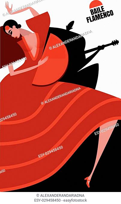 Vector illustration on white background featuring flamenco, couple, dancing woman and man playing on the guitar