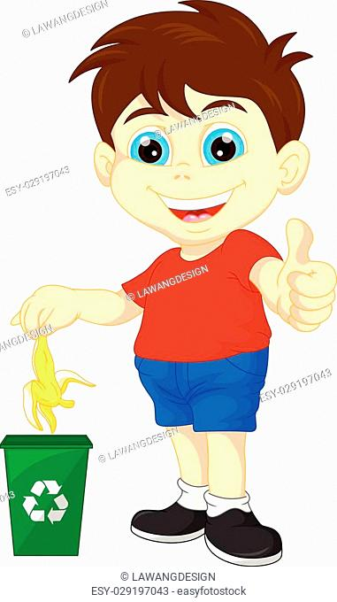 vector illustration of little boy recycling organic waste