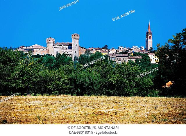 View of Vignola with the fortress, Emilia-Romagna, Italy