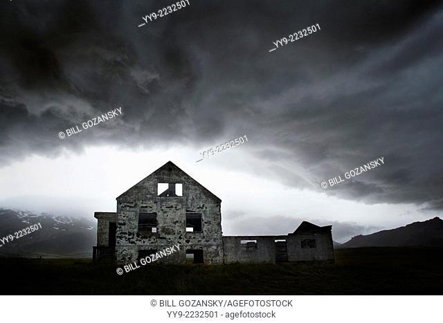 Abadoned House under stormy skies - Dagverdara, Snaefellsnes Peninsula - West Iceland