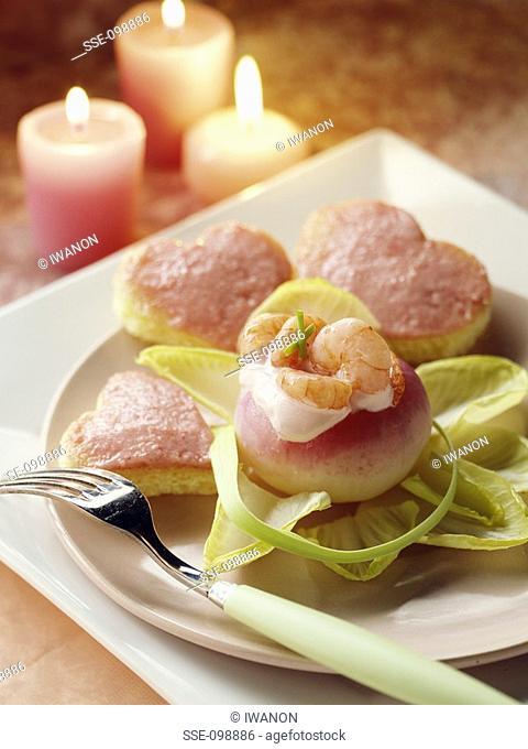 Small turnips stuffed with shrimps and tarama on toast