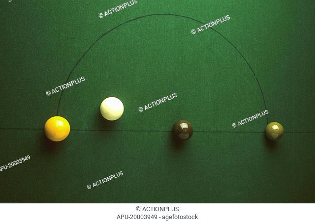 Snooker balls in formation on a green baize