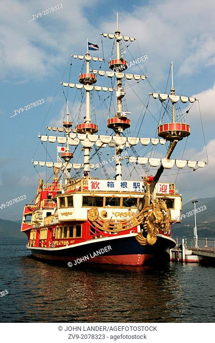 Pirate Ship on Lake Ashi- known as Ashinoko is a scenic lake in Hakone. The lake is known for its views of Mt. Fuji. Several ferries cruise the lake