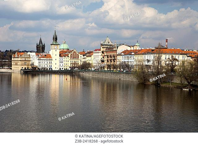 Charles Bridge, the Smetana Museum, Water Tower and Old Town along the Vltava River, Prague, Czech Republic