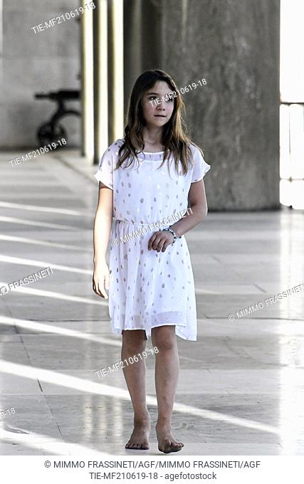 Australian young painter (12 years old ) Aelita Andre at the Museum of Civiltà in Rome ,ITALY-20-06-2019