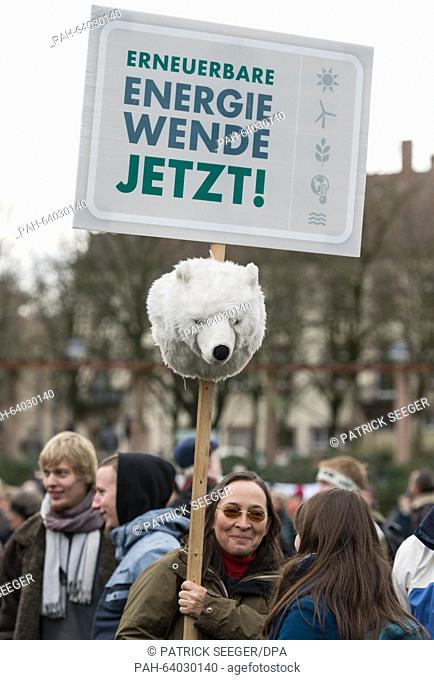 Environmental protestors calling for greater protection of the climate in Freiburg, Germany, 28 November 2015. In the run up to the Climate Summit in Paris on...