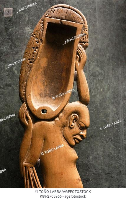 Wood spoon in the form of a person. Egyptian Pharaonic collection. Louvre Museum. Paris. France