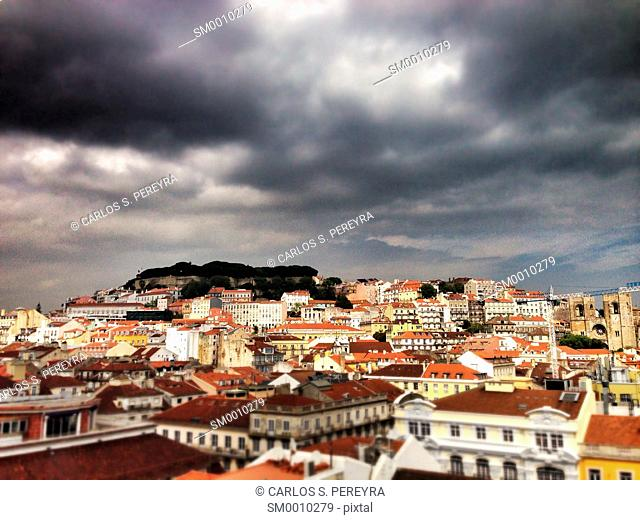 Landscape of Lisboa, with ST. George Castle to the end
