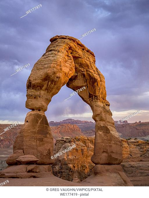 Last light on Delicate Arch; Arches National Park, Utah
