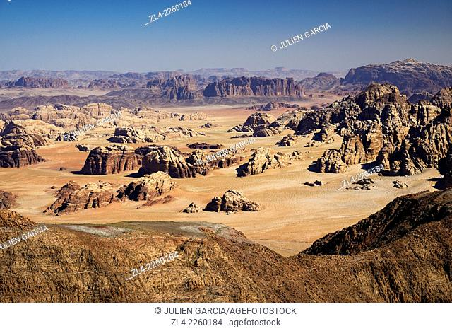 View from the summit of Jebel Umm Adaami (1832m), the highest mountain of Jordan. Jordan, Wadi Rum desert, border with Saudi Arabia