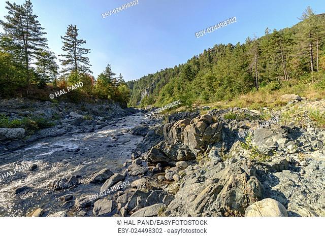landscape of Orba river near santa Maria alla Croce Cistercian abbey, Tiglieto, Ligure inland, Italy