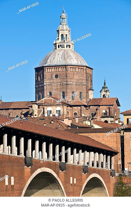 duomo partial view from covered bridge, pavia, italy