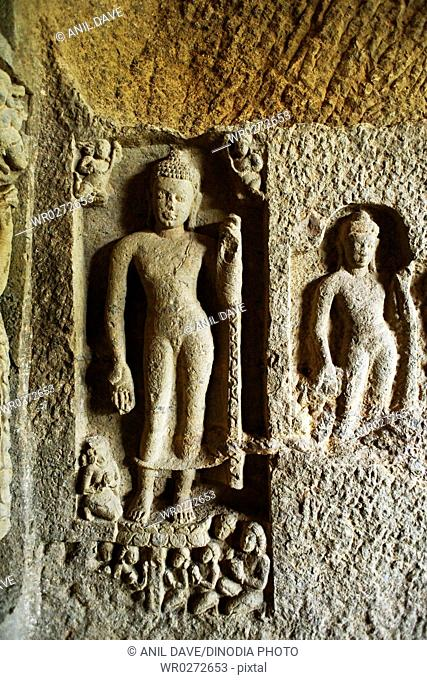 Buddhist cave temple 2nd-9th century , Kanheri , Borivali , Bombay Mumbai , Maharashtra , India Heritage