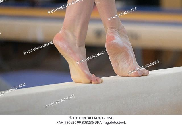 28 May 2018, Chemnitz, Germany: Gymnast Pauline Schaefer trains at the balance beam at Chemnitz' Sports Forum. Eight months ago she gained a surprising medal at...