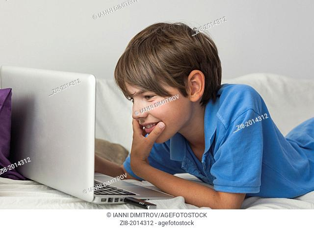 Boy chatting with friends online on laptop at home