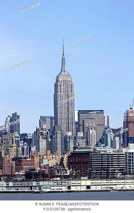 The Empire State Building, seen from across the Hudson River, Manhattan, New York City