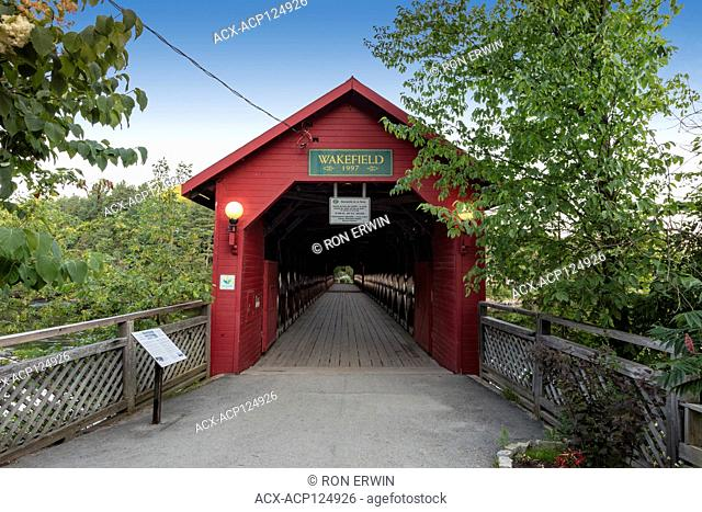 Wakefield Covered Bridge, a wooden replica of the 1915 Gendron Covered Bridge at Wakefield Quebec Canada that burned down in 1984
