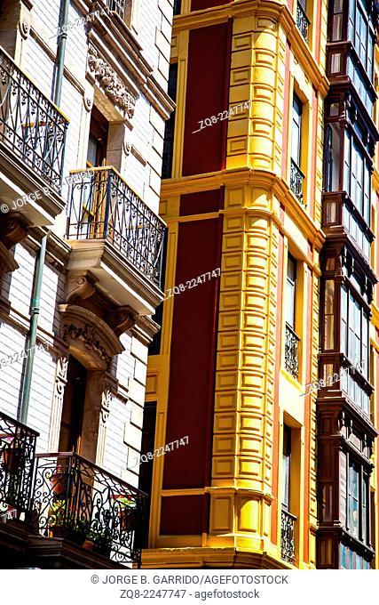 Typical european buildings at Gijon, Asturias, Spain