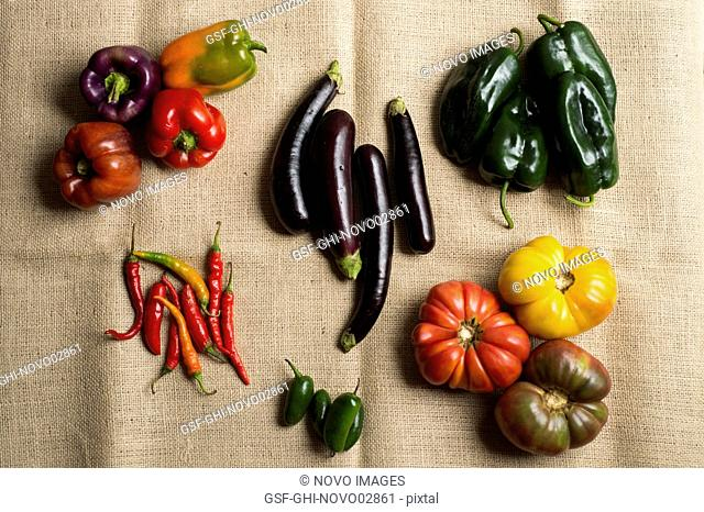 Assorted Vegetables on Burlap Fabric