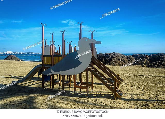 A seagulls toy view in Postiguet beach, Alicante, Spain