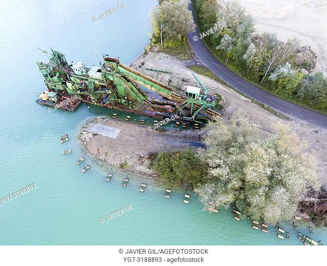 Dredge in quarry, Jumieges, Seine-Maritime, Normandy, France