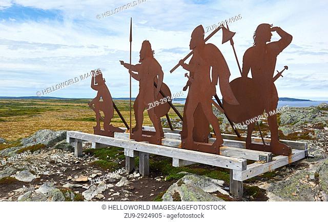 Norse figures sculpture by Karen Van Niekerk, L'Anse Aux Meadows UNESCO world heritage site, Newfoundland, Canada