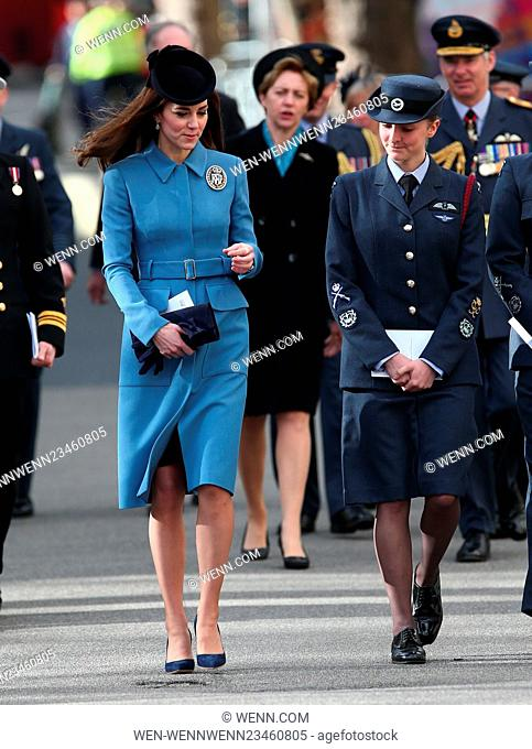Catherine, Duchess of Cambridge attends a service to commemorate the 75th anniversary of the formation of the Air Cadet Corps at the Church of St