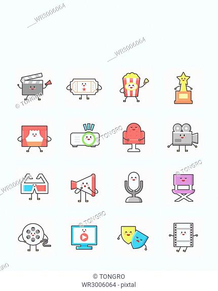 Icon set of various personified objects related to cinema