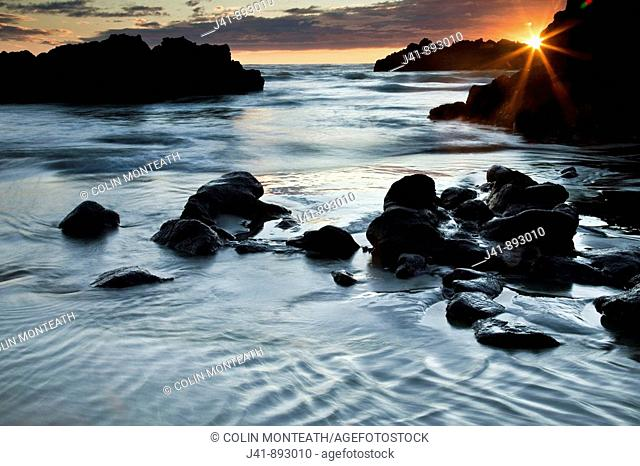 Dawn light on Sumner beach seascape, Christchurch, Canterbury, New Zealand