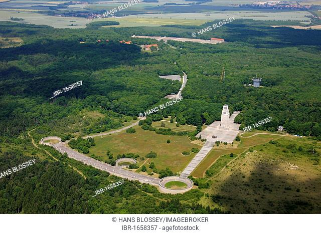 Aerial view, former concentration camp Buchenwald near Weimar, Daasdorf am Berge, Weimarer Land, Thuringia, Germany, Europe