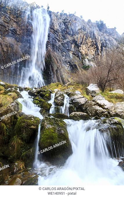 Waterfall in the birth of the river Ason, Cantabria, Spain