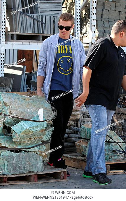 Dad-to-be Hayden Christensen at a home improvement and construction store buying materials for a swimming pool in Burbank Featuring: Hayden Christensen Where:...