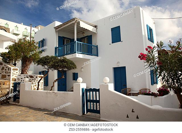 Whitewashed houses with colorful doors and windows in town center, Mykonos, Cyclades Islands, Greek Islands, Greece, Europe