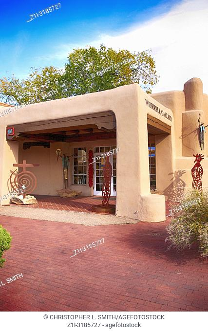 Worrell Gallery on the corner of Washington Ave in downtown Santa Fe, New Mexico USA