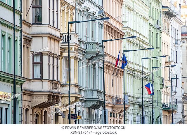 Side view of intricate and colorful architecture on buildings in Prague - Czech Republic