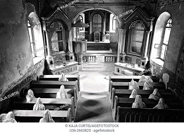 Ghost Mourners, St. George's ghost church, art installation, Luková, Bohemia, Czech Republic