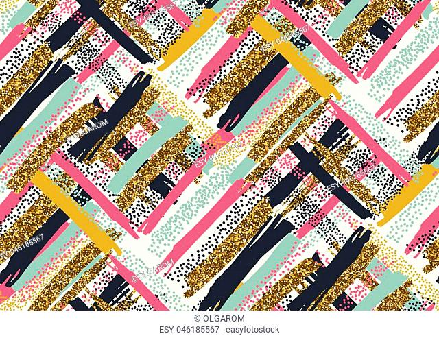 Vector seamless pattern with hand drawn gold glitter textured brush strokes and stripes hand painted. Black, gold, pink, green, brown colors