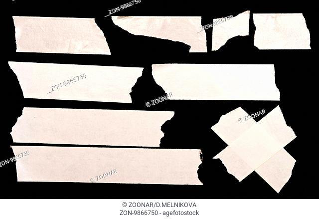 White masking tape isolated on black background