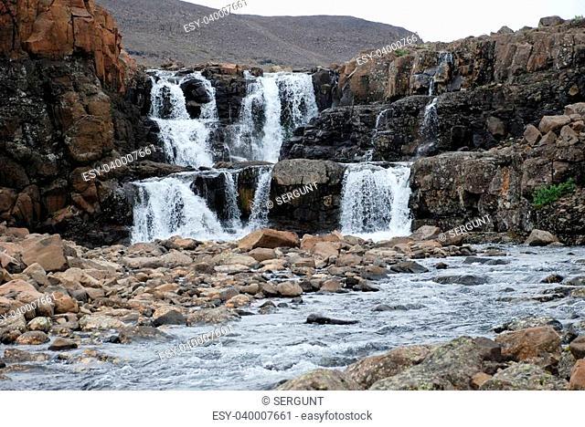 Photo waterfall, made during a hike in 2011 on the Putorana plateau. Taimyr Peninsula, Russia
