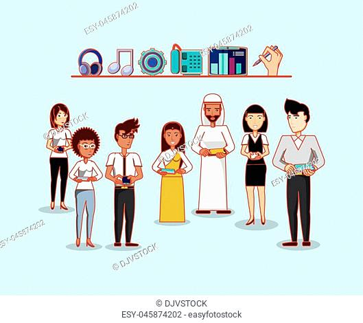 people using technology social media vector illustration