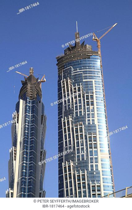 Skyscrapers under construction, Business Bay, Dubai, United Arab Emirates, Middle East